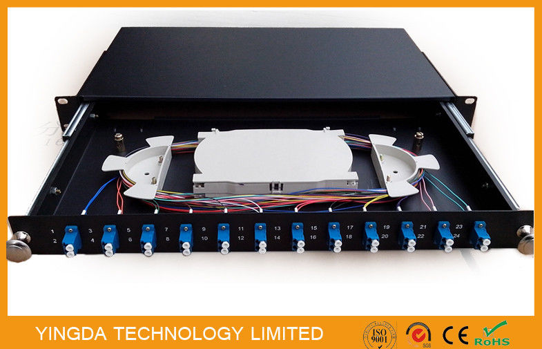 1U 19 Inch Sliding Rack Mount Fiber Optic Patch Panel 12 Port LC Duplex تامین کننده